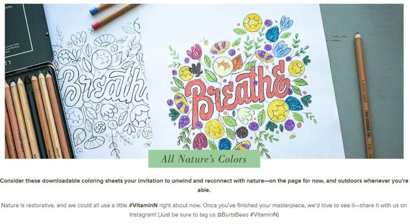 Screen shot from Burt's Bees site offering free, nature-themed coloring pages
