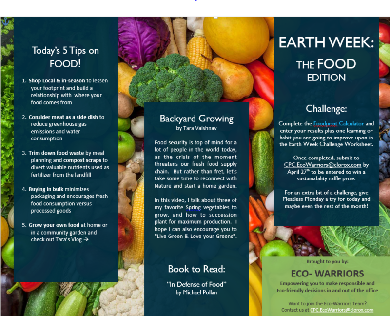 Earth Week tips sent to Clorox employees in Pleasanton, California