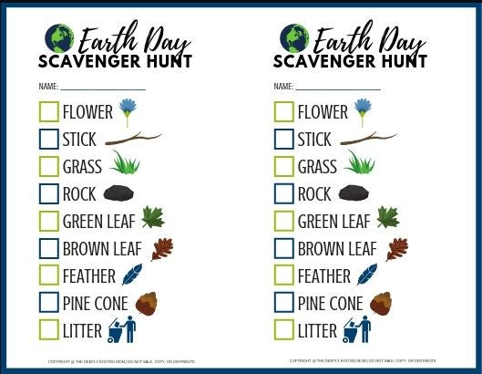 Earth day scavenger hunt check list
