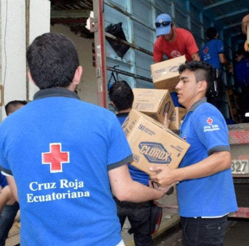 Ecuador earthquake - Cruz Roja - Clorox donation