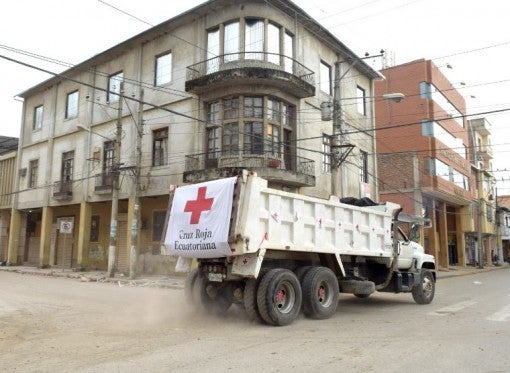 Ecuador earthquake - Red Cross truck in city