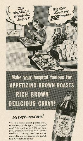 A 1947 Modern Hospital advertisement for Kitchen Bouquet.