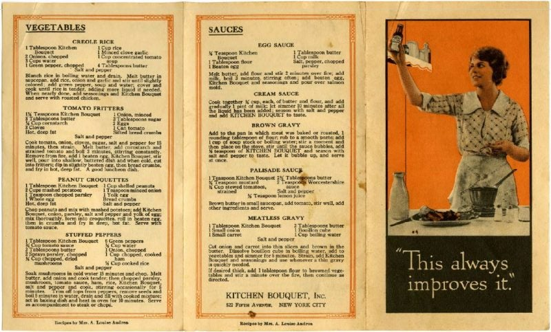 A leaflet promoting Kitchen Bouquet came with classic recipes of the era.
