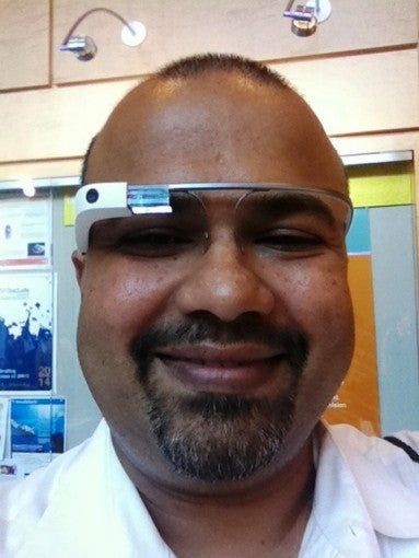 Kunde trying out Google Glass at the inaugural Aging 2.0 Conference in May, 2014.