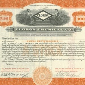 Stock certificate for the Clorox Chemical Company